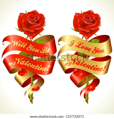 Ribbon banners in the shape of heart and red rose. Valentine's Day Card 7 - stock vector