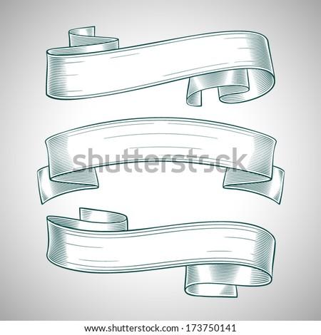 Ribbon Banners Set - stock vector