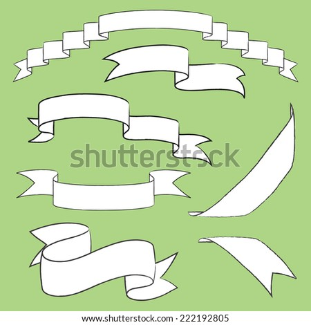 ribbon banners vector white on green background - stock vector