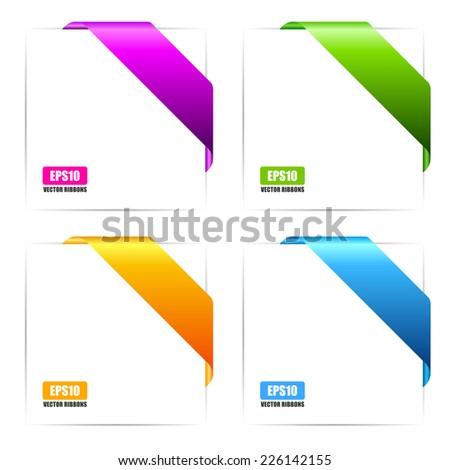 Ribbon cards - stock vector