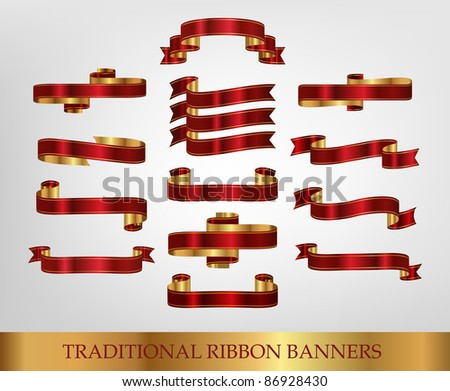 Ribbon Collection - stock vector