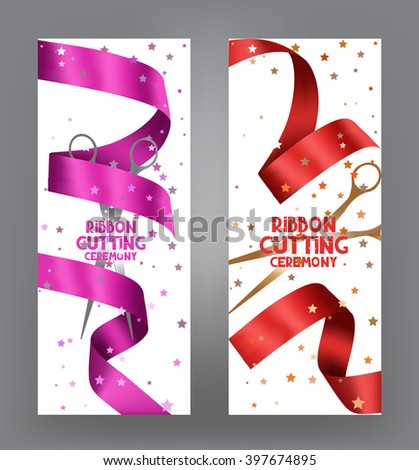 ribbon cutting ceremony cards with pink ribbon and bokeh background - stock vector
