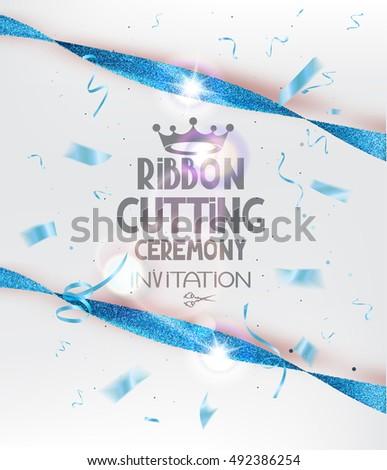 Ribbon cutting ceremony invitation card blue stock vector royalty ribbon cutting ceremony invitation card blue stock vector royalty free 492386254 shutterstock stopboris Image collections