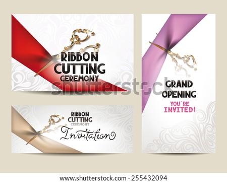 ribbon cutting ceremony invitation cards scissors stock vector