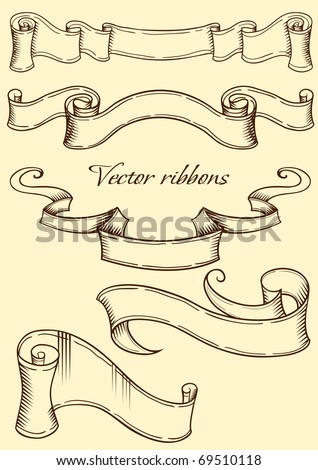 Ribbon in retro style. Vector illustration - stock vector