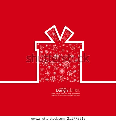 Ribbon in the form of gift  with shadow with snowflakes and space for text. flat design. Merry Christmas. Happy new year. congratulation - stock vector