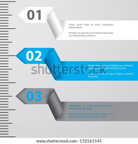 Ribbon infographic design with gradation and calibration - stock vector