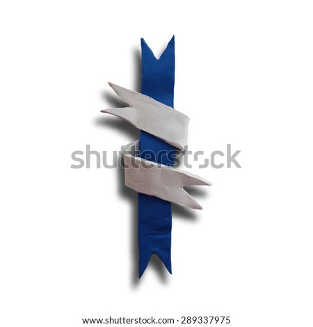 Ribbon interwoven, badge or batch for 4 July American Independence Day and other events, isolated on white color background. Vector illustration. Plasticine modeling. - stock vector