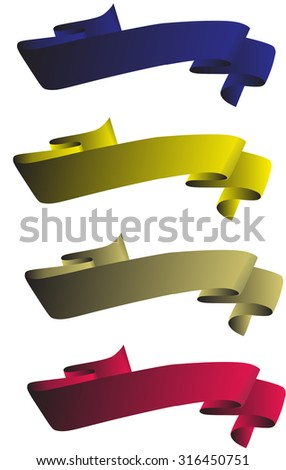 Ribbon label vector greetings. Tape blue, pink, beige and yellow.