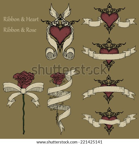 Ribbon&Love Doodles A collection of hand-drawn on a brown background. - stock vector