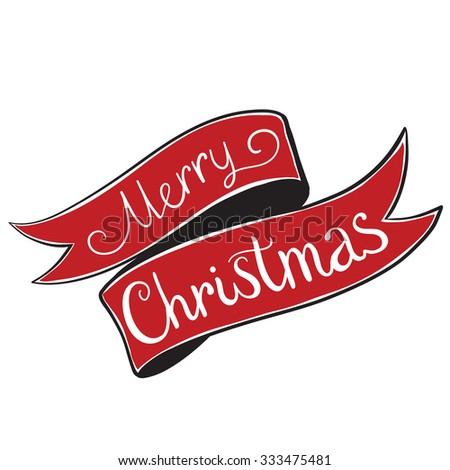 Ribbon Merry Christmas Vintage Christmas Background - stock vector