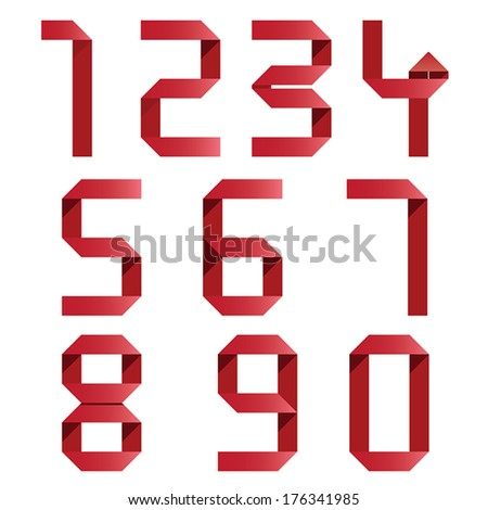 Ribbon Numbers set. Vector. - stock vector