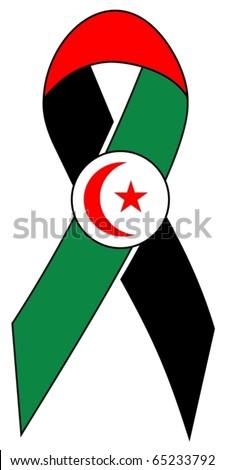Ribbon of solidarity to sahara free - stock vector