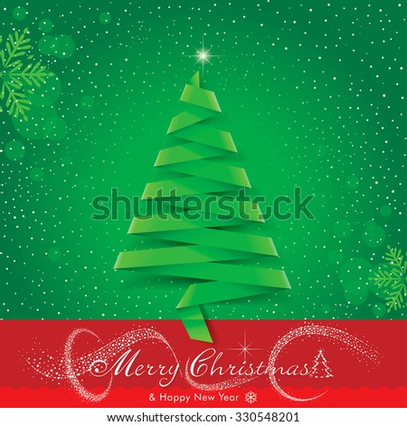 Ribbon or origami Christmas tree design. - stock vector