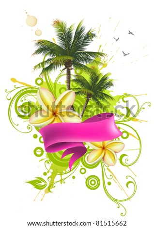 Ribbon, palm trees and tropical flowers - stock vector