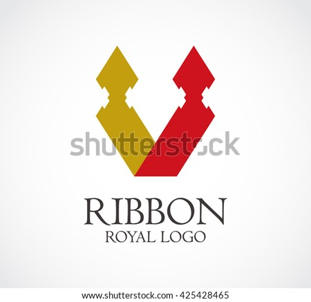 Ribbon royal of candle abstract vector and logo design or template romantic business icon of company identity symbol concept - stock vector