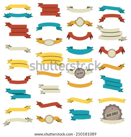 Ribbon set in 5 colors. Vector illustration.