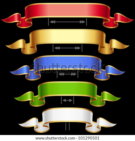 Ribbon set with adjustable length. Vector red, golden, blue, green and white frame isolated on background