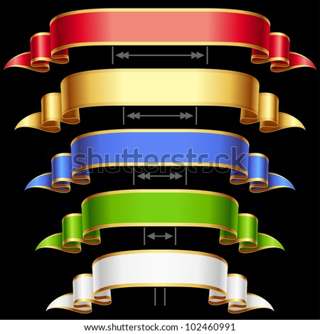 Ribbon set with adjusting length. Vector red, golden, blue, green and white frame isolated on background 4 - stock vector