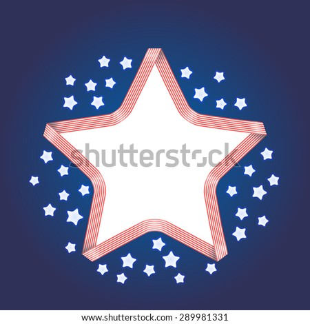 Ribbon star frame. 4th july Independence Day background with shining stars. Vector template