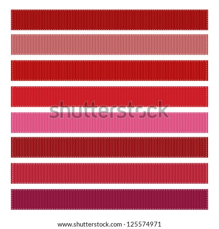 Ribbon Textures Vector Illustration, Grosgrain, Set of 8. RED SET #1 - stock vector