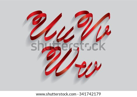 ribbon typography/font/typeface u,v,w vector - stock vector