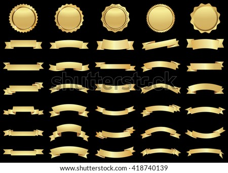 Ribbon vector icon set gold color on black background. Banner isolated shapes illustration of gift and accessory. Christmas sticker and decoration for app and web. Label, badge and borders collection. - stock vector