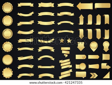 Ribbon vector icon set gold color on black background. Banner isolated shapes illustration of gift and accessory. Christmas sticker and decoration for app and web. Label, badge and borders collection.