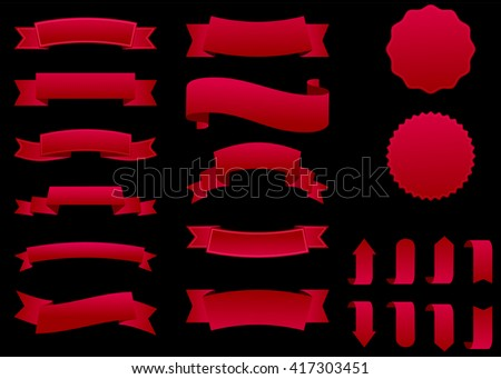 Ribbon vector icon set red color on black background. Banner isolated shapes illustration of gift and accessory. Christmas sticker and decoration for app and web. Label, badge and borders collection. - stock vector