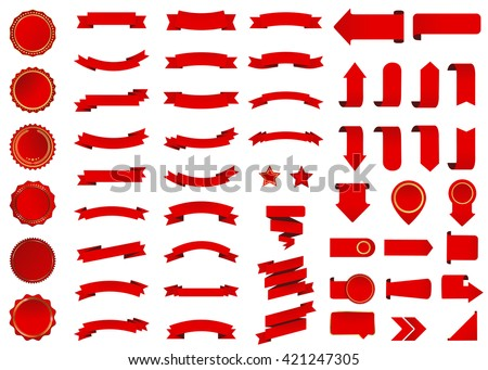 Ribbon vector icon set red color on white background. Banner isolated shapes illustration of gift and accessory. Christmas sticker and decoration for app and web. Label, badge and borders collection. - stock vector