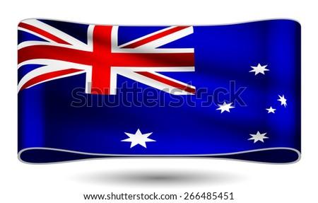 Ribbon waving flag of Australia. Vector illustration. - stock vector