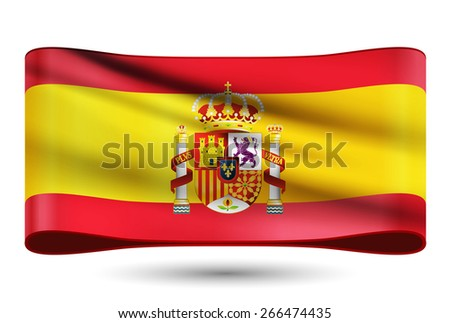 Ribbon waving flag of Spain vector illustration with a coat of arms. - stock vector