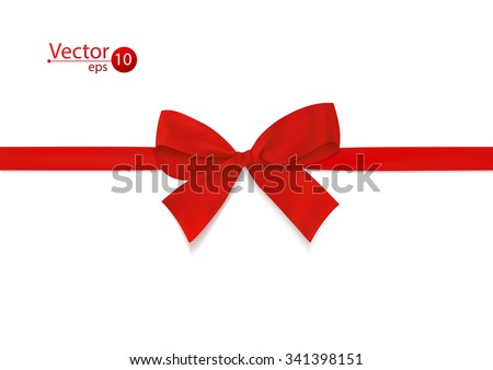 Ribbon with red bow on a white background. Vector illustration.