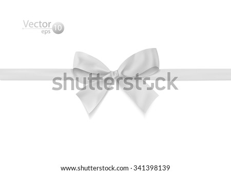 Ribbon with white bow on a white background. Vector illustration. - stock vector