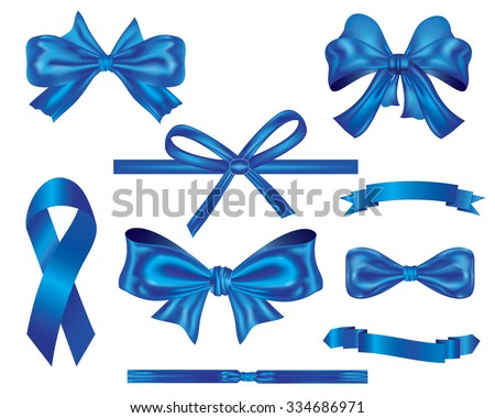 ribbons and bows Collection,set of blue luxury ribbons and bows vector for decoration and design - stock vector