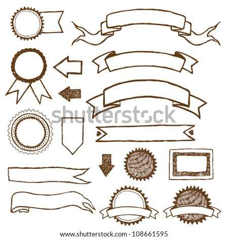 Ribbons and labels - stock vector