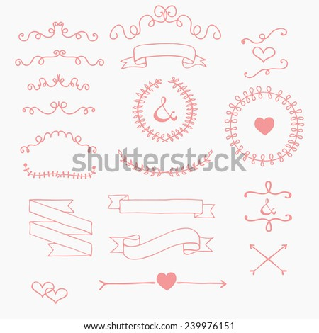 Ribbons and laurels cute cartoon handmade vector illustration in candy colors wedding graphic set - stock vector