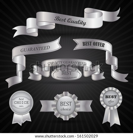 Ribbons And Medals Set - Isolated On Background - Vector Illustration, Graphic Design Editable For Your Design - stock vector