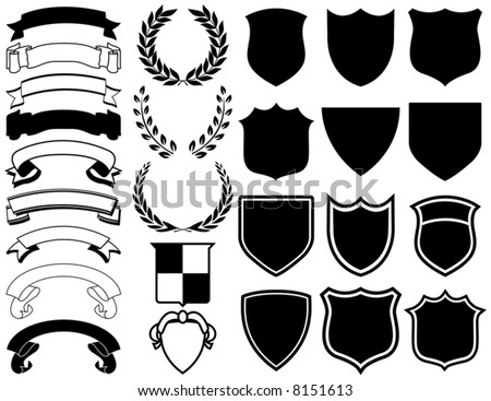 Ribbons, Banners, Laurels, and Shields. Mix and Match to create your own logo - stock vector