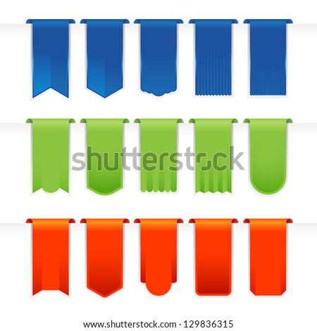 Ribbons Big Set full color on white background vector illustration - stock vector