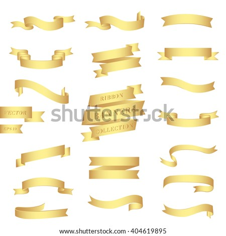 Ribbons collection. Big set of beautiful realistic golden banners. Vector illustration, eps 10 - stock vector