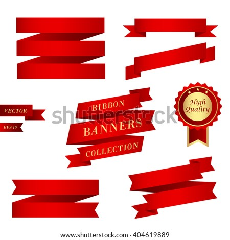 Ribbons collection. Set of different red banners with red award badge. Vector illustration, eps 10 - stock vector
