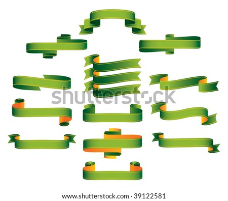 Ribbons, scrolls, banners - editable vector illustrations - stock vector