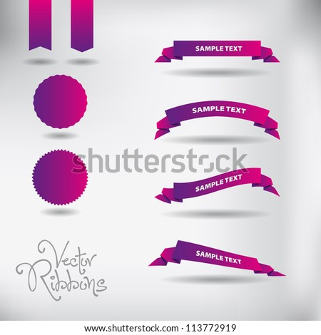 Ribbons Set, Isolated On White Background, Vector Illustration - stock vector