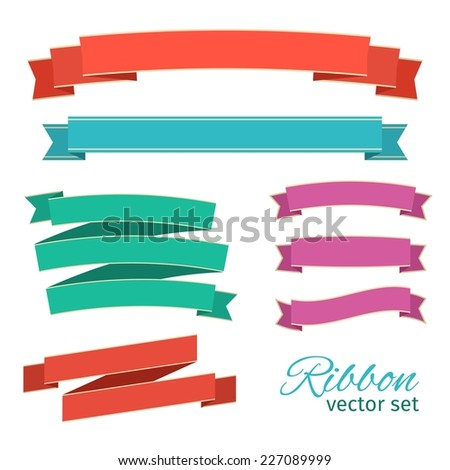 ribbons vintage style for design. vector set  - stock vector