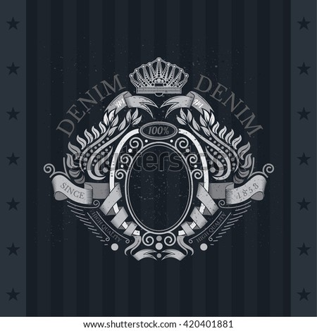 Ribbons Winding Of Oval Frame In Center And Laurel Pattern Around. Vintage Label On Blackboard - stock vector