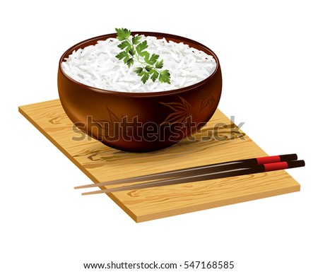 Rice bowl with parsley sprig and chopsticks on wooden board. Hand drawn vector illustration on white background.