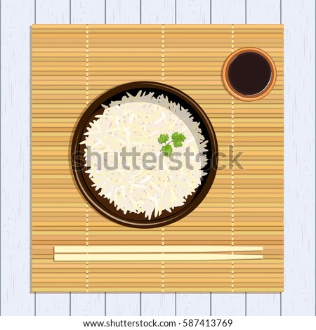 Rice in ceramic bowl with chopsticks and parsley green twig and sause. Kitchen bamboo mat on distressed white timber. Vector illustration. For culinary, cafe, fastfood, shop, restaurant. Logo, poster