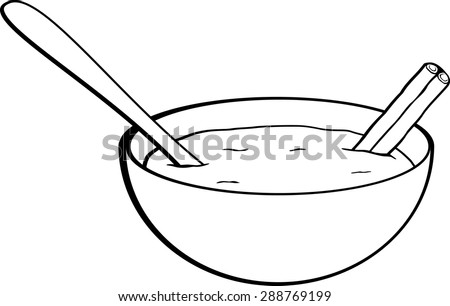 rice pudding with cinnamon stick - stock vector