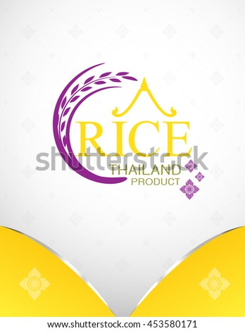 Rice Thailand food Logo Product and Background Thai Arts. - stock vector